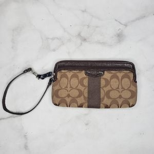 Coach signature double wallet with wrist strap